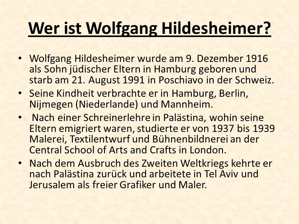 Wer ist Wolfgang Hildesheimer