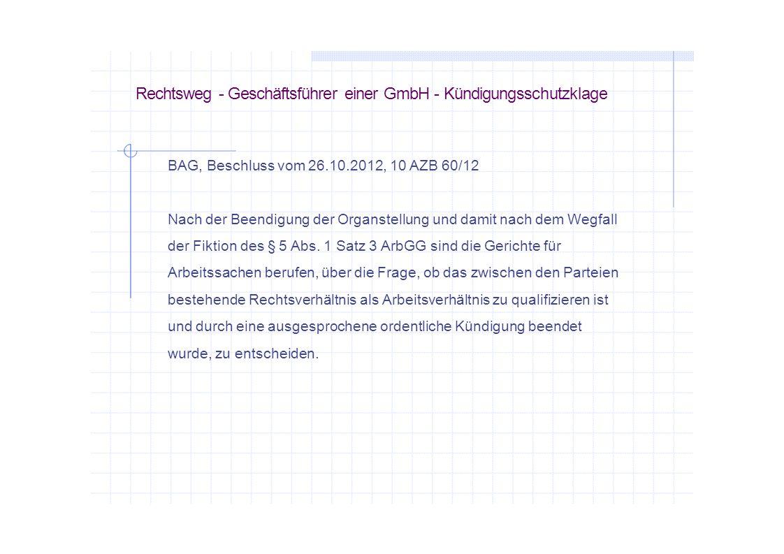 Rechtsweg - Geschäftsführer einer GmbH - Kündigungsschutzklage
