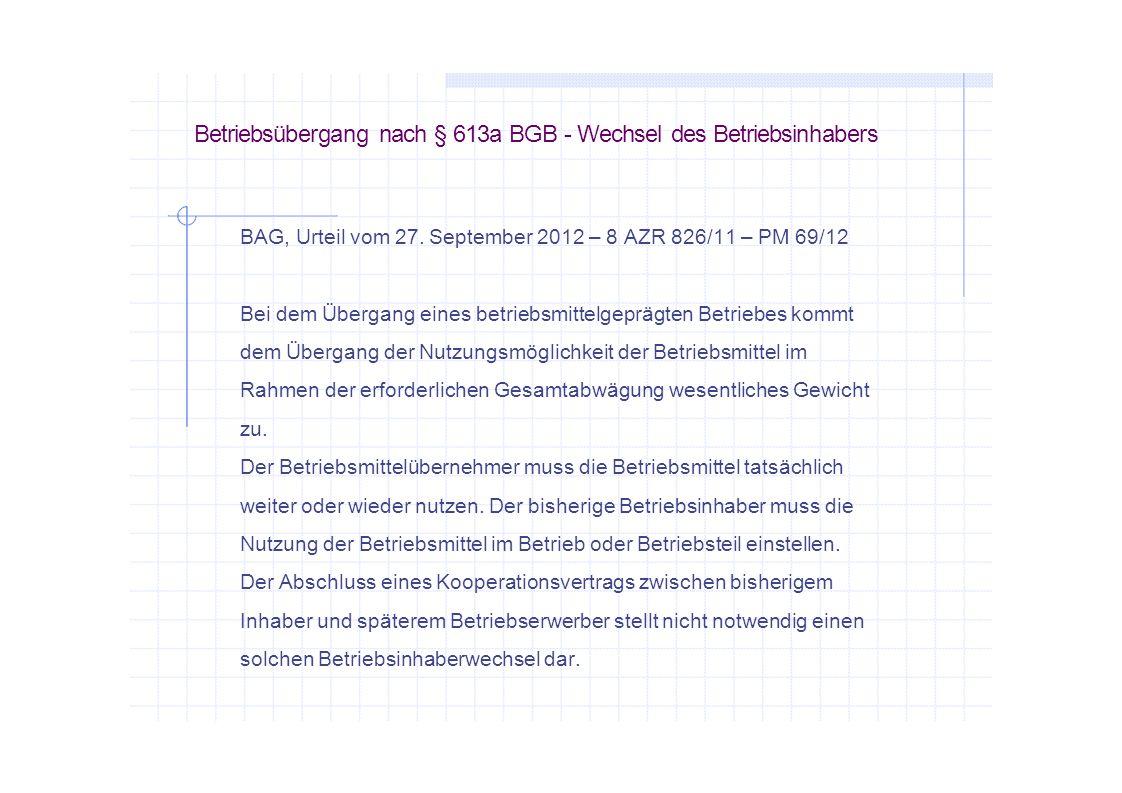 Betriebsübergang nach § 613a BGB - Wechsel des Betriebsinhabers
