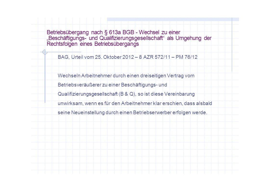 """Betriebsübergang nach § 613a BGB - Wechsel zu einer """"Beschäftigungs- und Qualifizierungsgesellschaft als Umgehung der Rechtsfolgen eines Betriebsübergangs"""