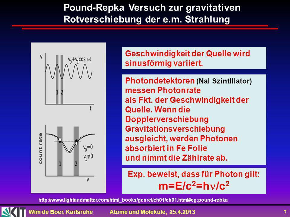 Exp. beweist, dass für Photon gilt: m=E/c2=h/c2