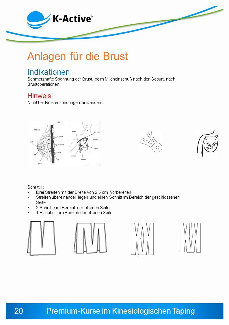Anlagen für die Brust Indikationen 20 Hinweis: