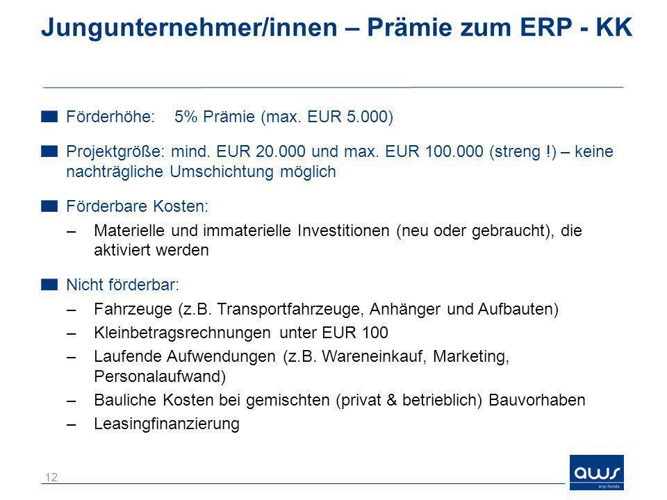 Jungunternehmer/innen – Prämie zum ERP - KK