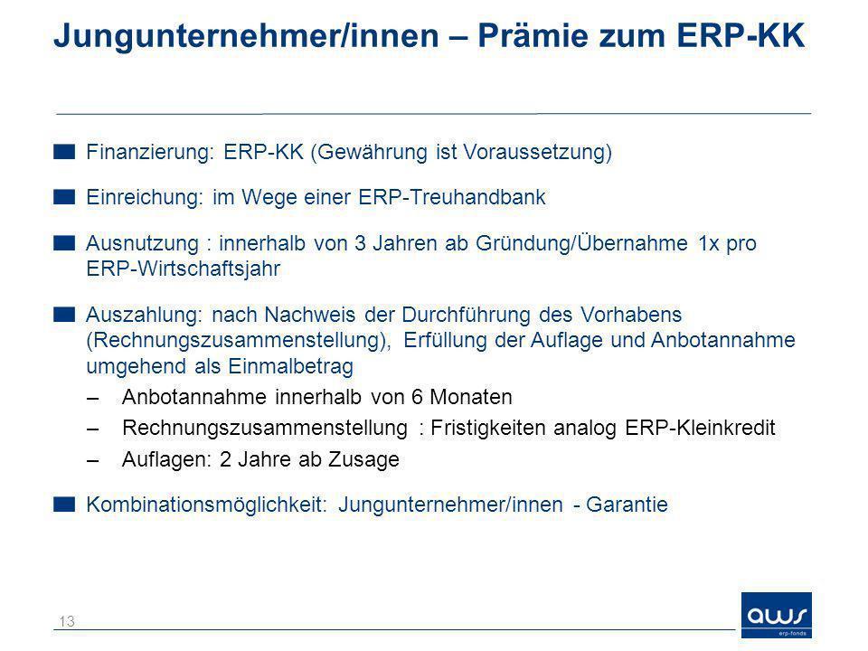 Jungunternehmer/innen – Prämie zum ERP-KK
