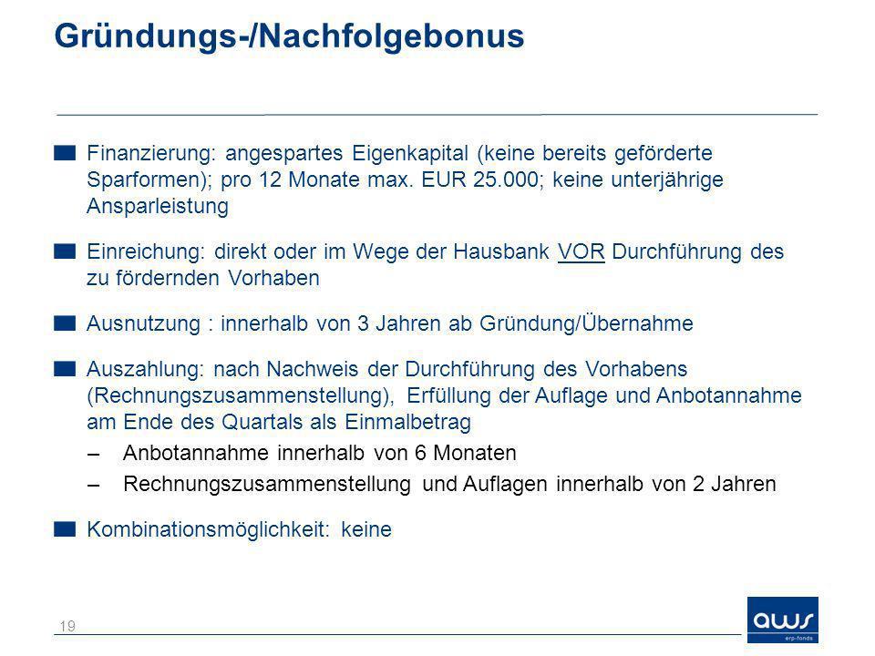 Gründungs-/Nachfolgebonus