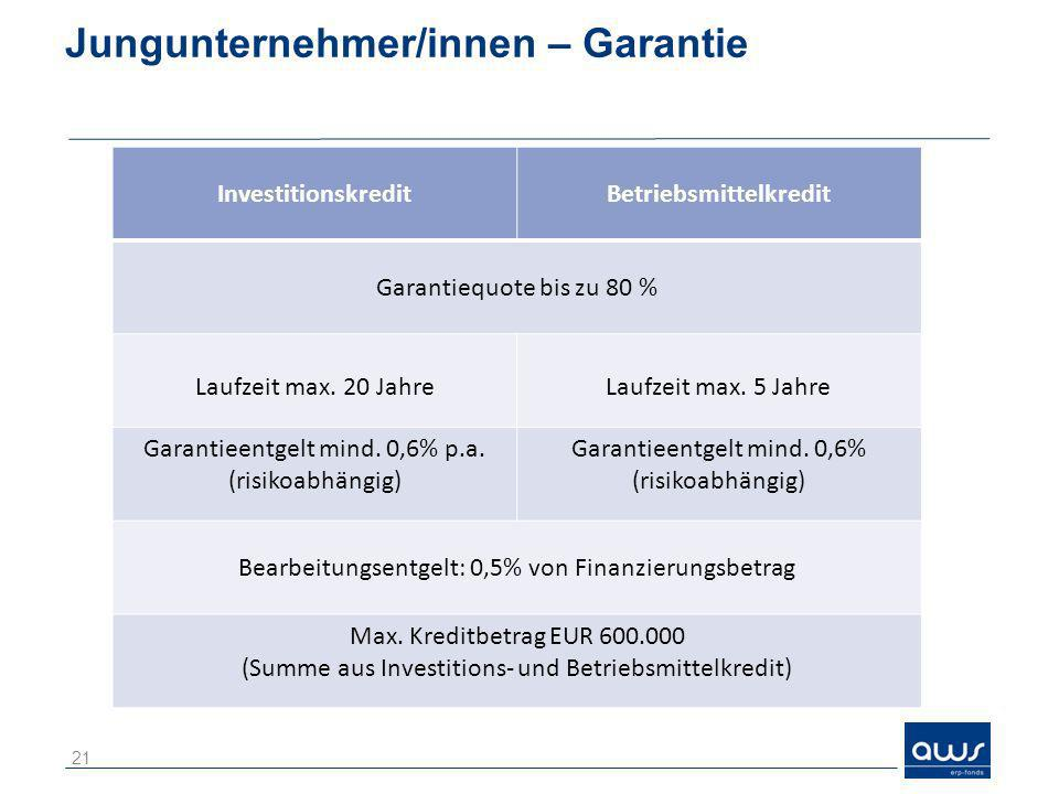 Jungunternehmer/innen – Garantie