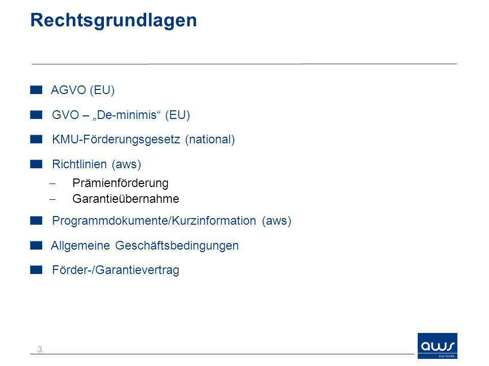 "Rechtsgrundlagen AGVO (EU) GVO – ""De-minimis (EU)"