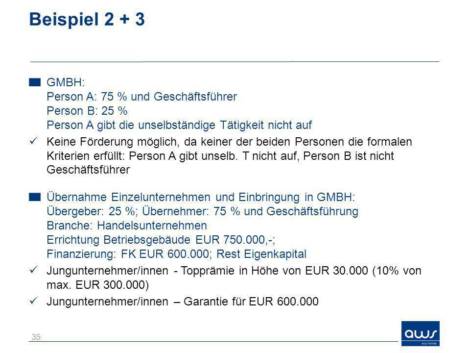 Beispiel 2 + 3 GMBH: Person A: 75 % und Geschäftsführer Person B: 25 % Person A gibt die unselbständige Tätigkeit nicht auf.