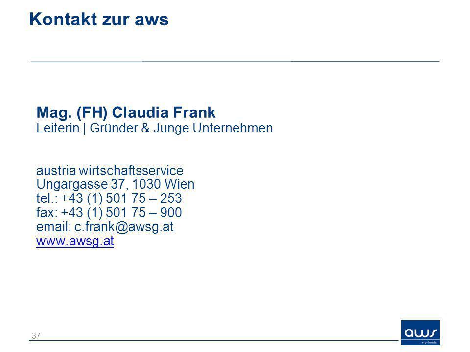 Kontakt zur aws Mag. (FH) Claudia Frank