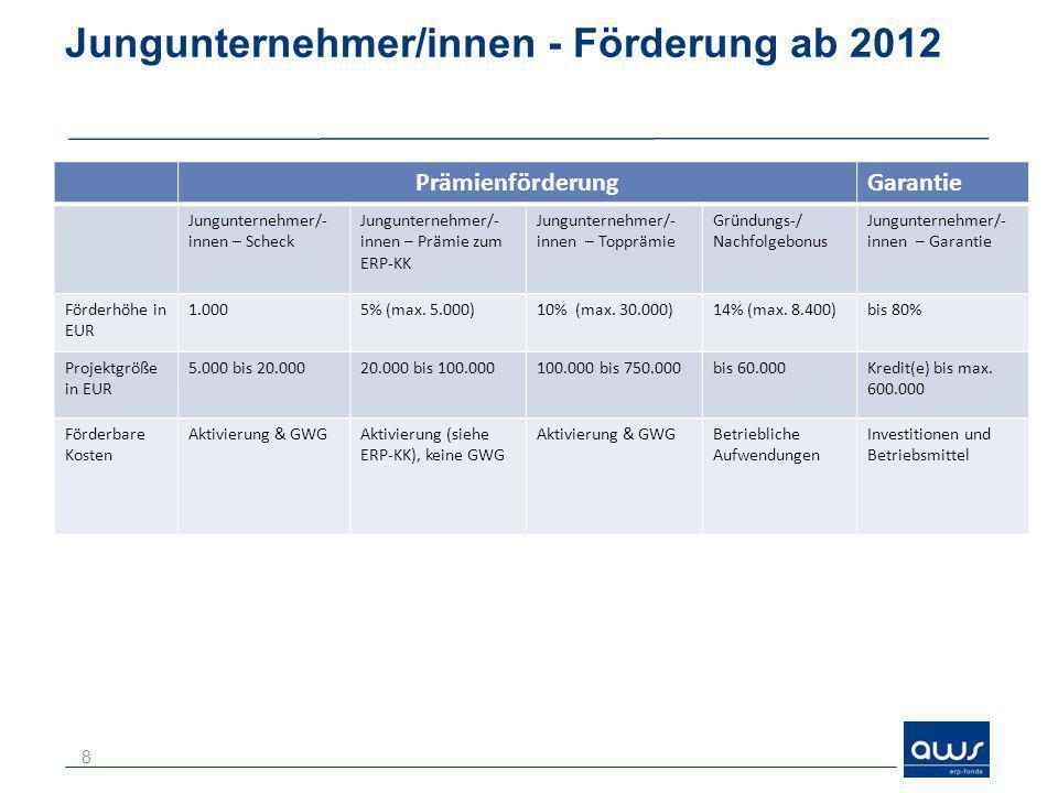 Jungunternehmer/innen - Förderung ab 2012