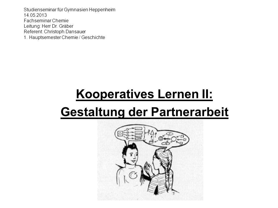 Kooperatives Lernen II: Gestaltung der Partnerarbeit