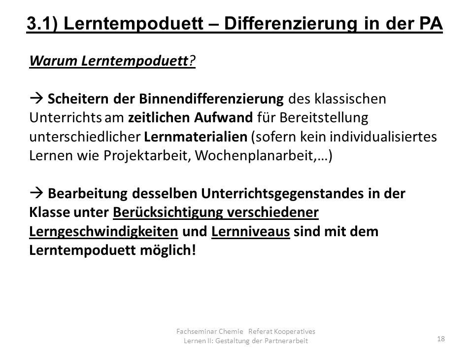 3.1) Lerntempoduett – Differenzierung in der PA