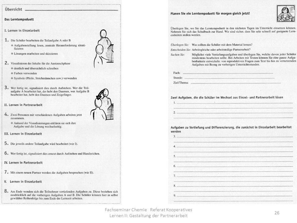 Fachseminar Chemie Referat Kooperatives Lernen II: Gestaltung der Partnerarbeit