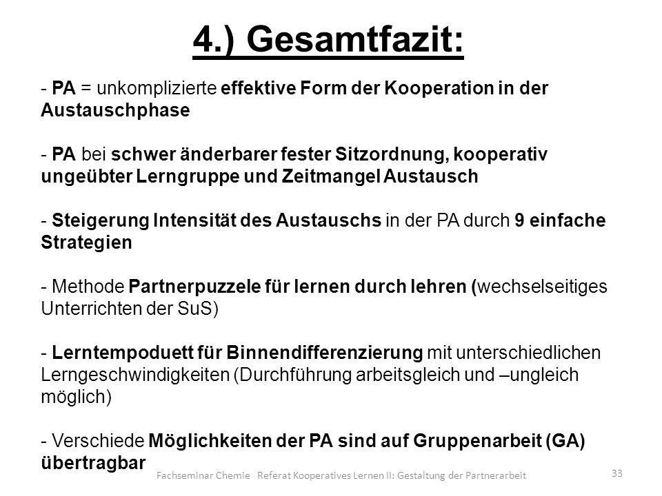 4.) Gesamtfazit: