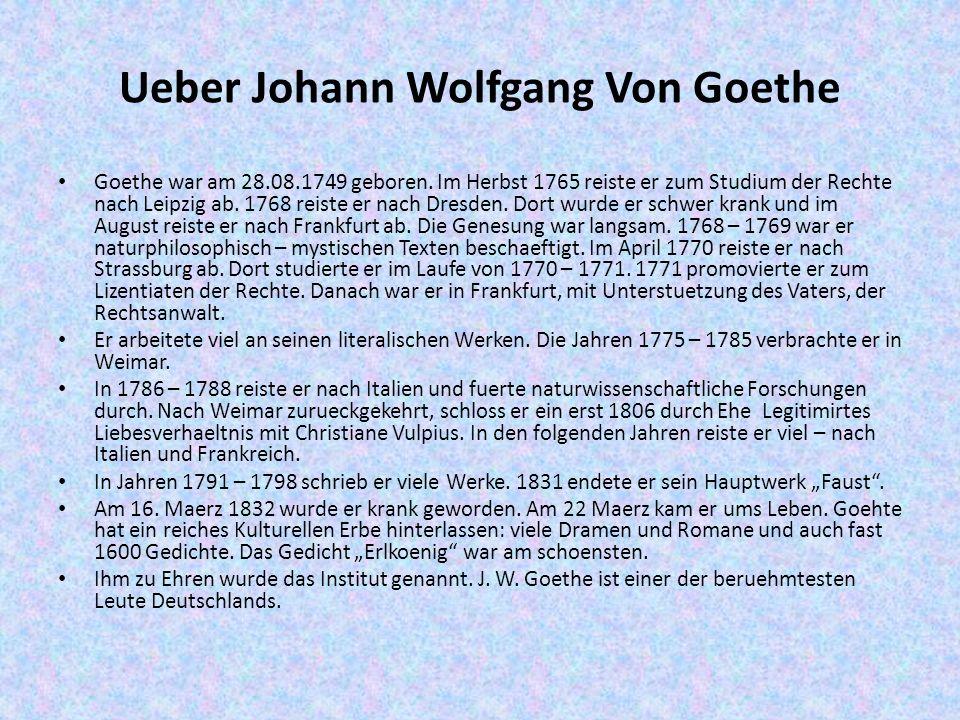 Ueber Johann Wolfgang Von Goethe