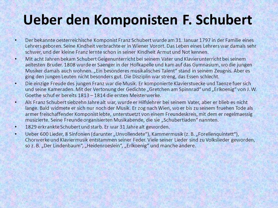 Ueber den Komponisten F. Schubert