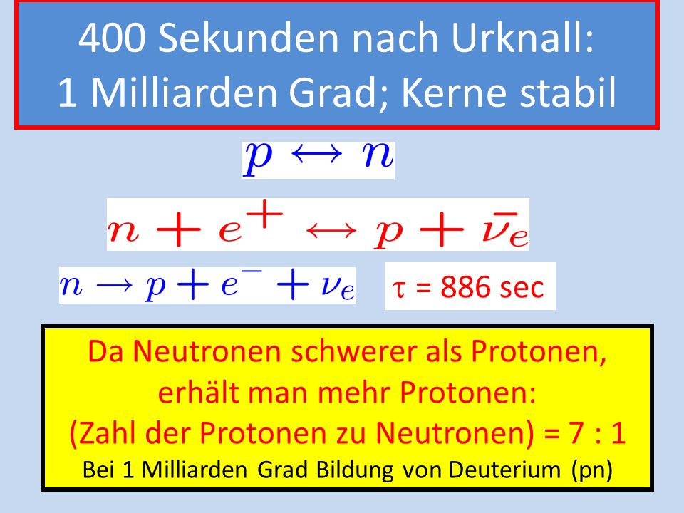 400 Sekunden nach Urknall: 1 Milliarden Grad; Kerne stabil