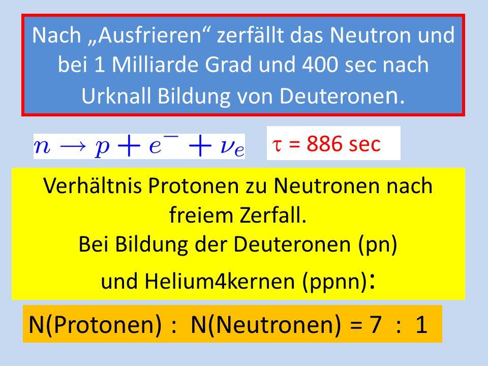 N(Protonen) : N(Neutronen) = 7 : 1