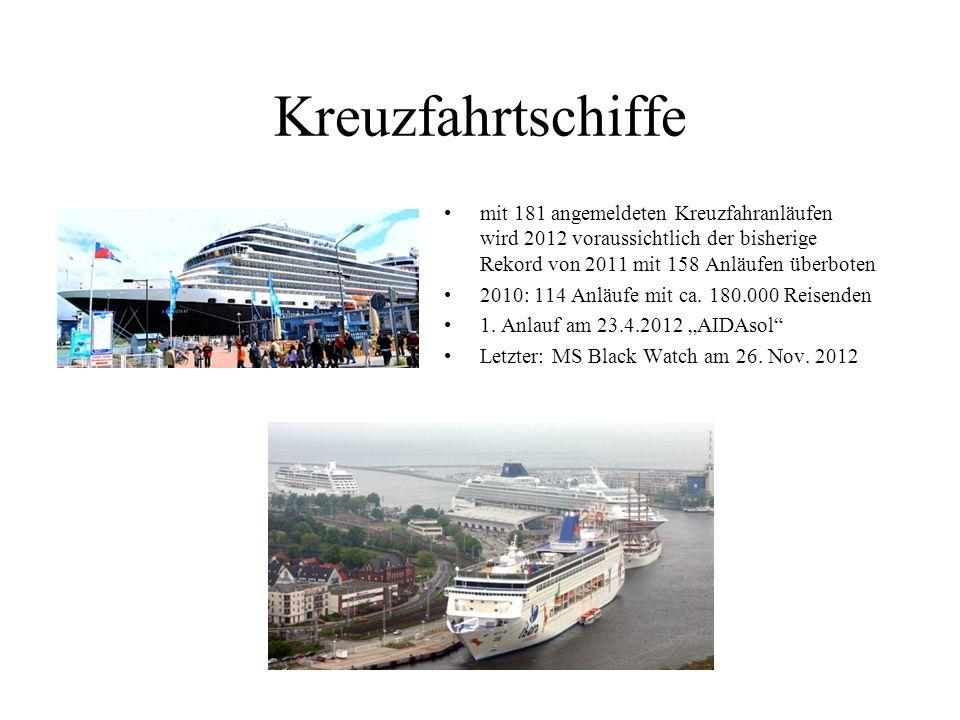 Kreuzfahrtschiffe mit 181 angemeldeten Kreuzfahranläufen wird 2012 voraussichtlich der bisherige Rekord von 2011 mit 158 Anläufen überboten.