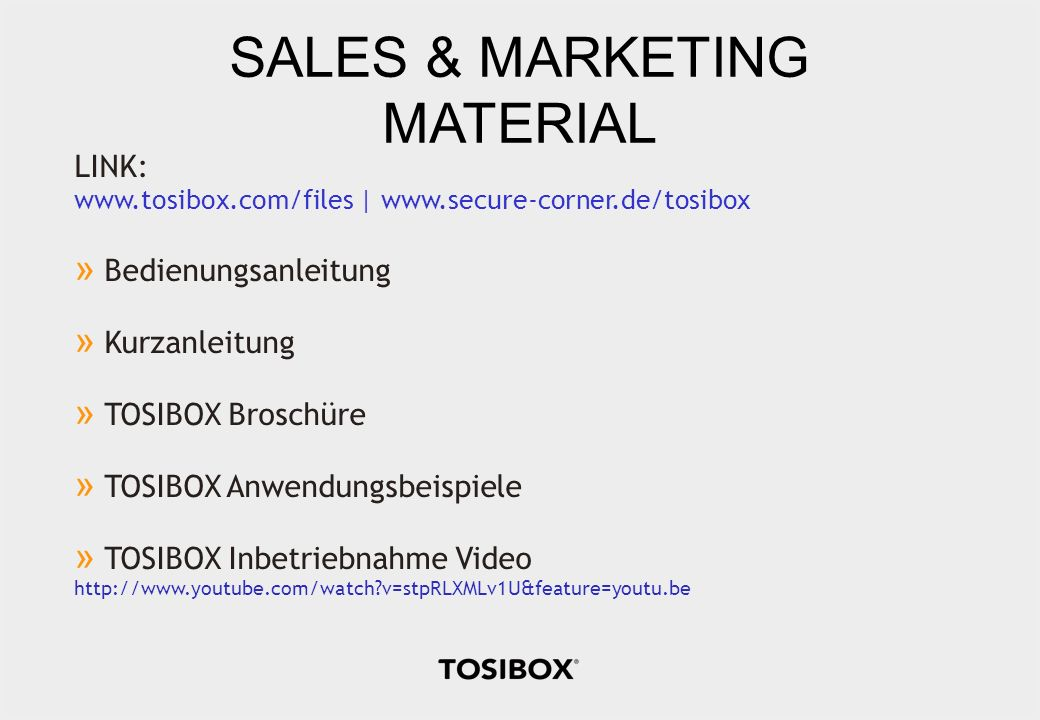 SALES & MARKETING MATERIAL