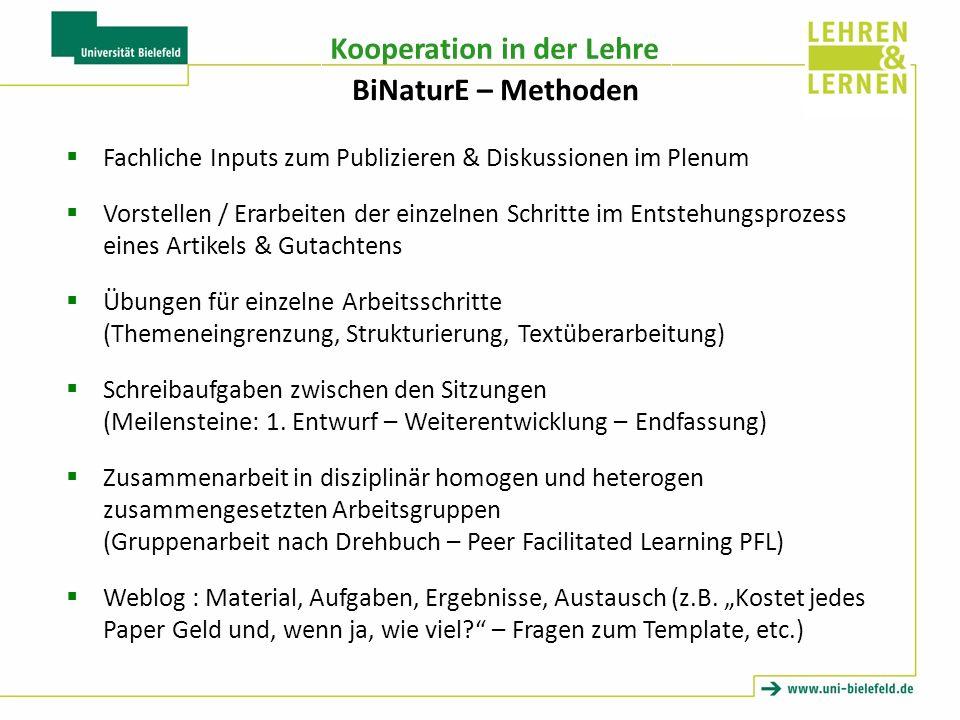 BiNaturE – Methoden Fachliche Inputs zum Publizieren & Diskussionen im Plenum.
