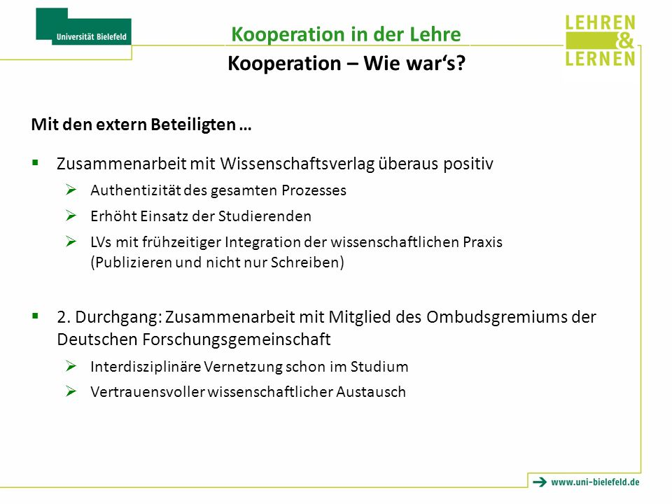 Kooperation – Wie war's