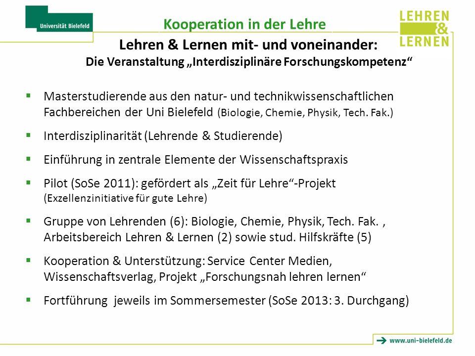 """Lehren & Lernen mit- und voneinander: Die Veranstaltung """"Interdisziplinäre Forschungskompetenz"""