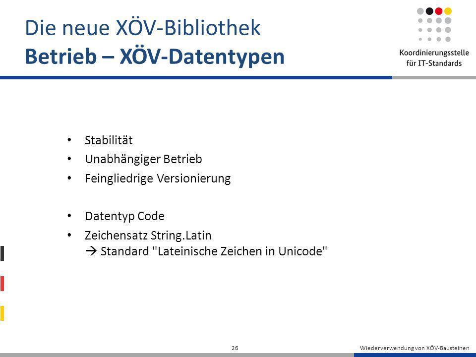 Die neue XÖV-Bibliothek Betrieb – XÖV-Datentypen