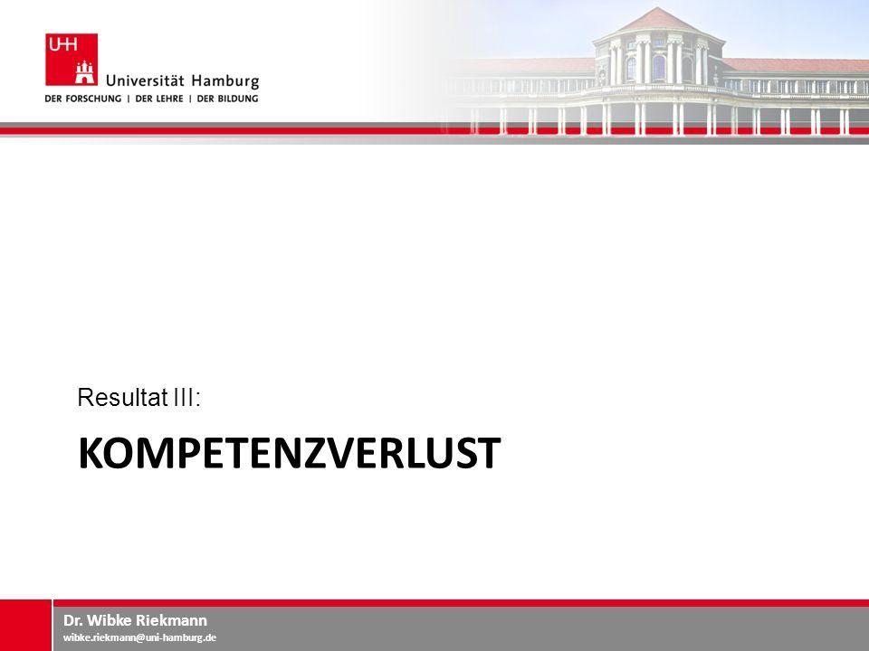 Resultat III: Kompetenzverlust