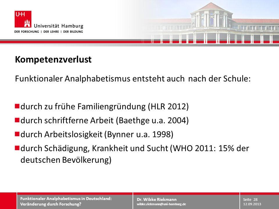 KompetenzverlustFunktionaler Analphabetismus entsteht auch nach der Schule: durch zu frühe Familiengründung (HLR 2012)