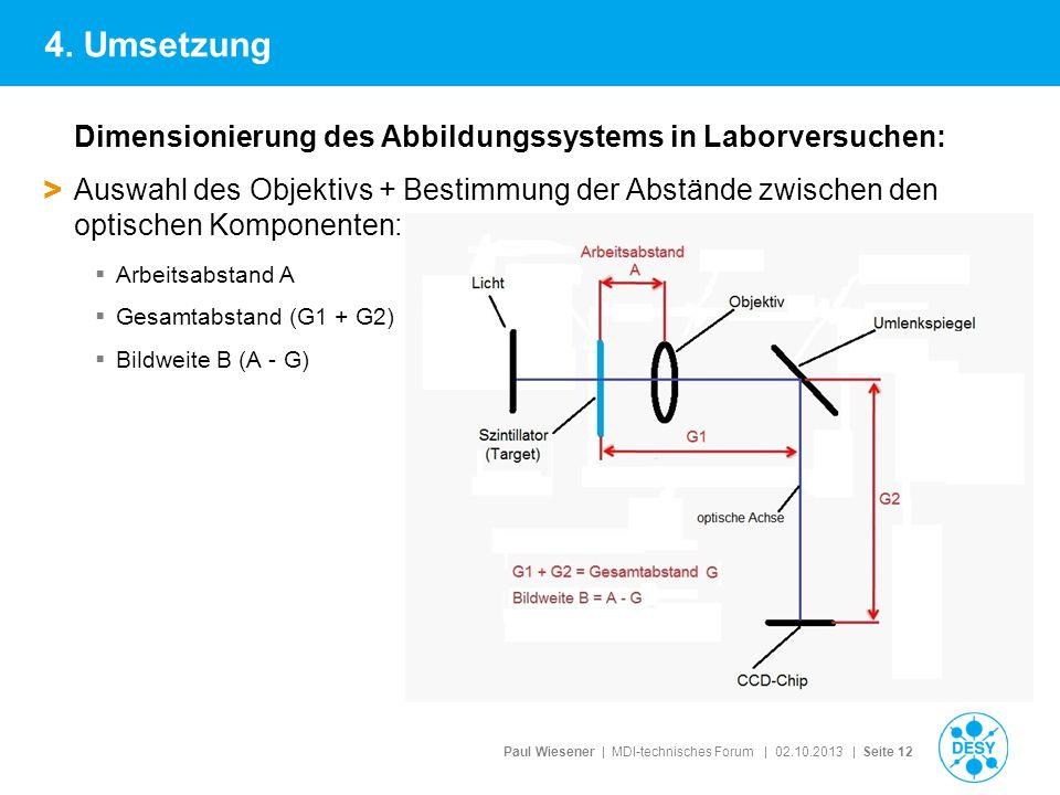 4. Umsetzung Dimensionierung des Abbildungssystems in Laborversuchen: