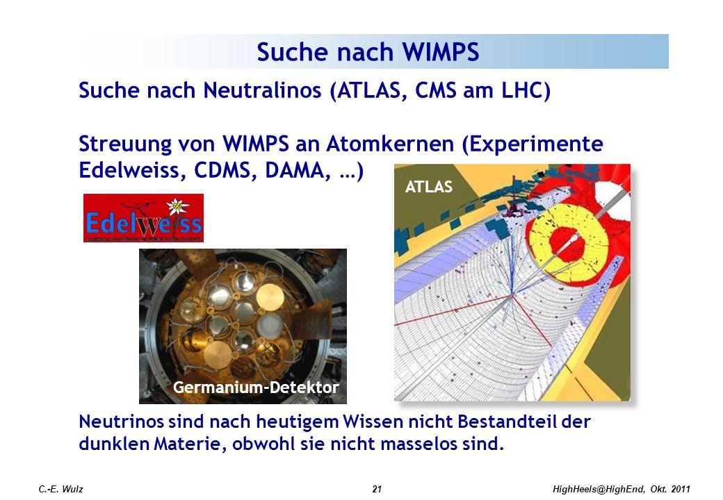 Suche nach WIMPS Suche nach Neutralinos (ATLAS, CMS am LHC)