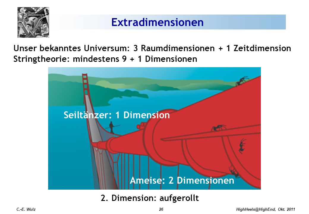 Extradimensionen Seiltänzer: 1 Dimension Ameise: 2 Dimensionen