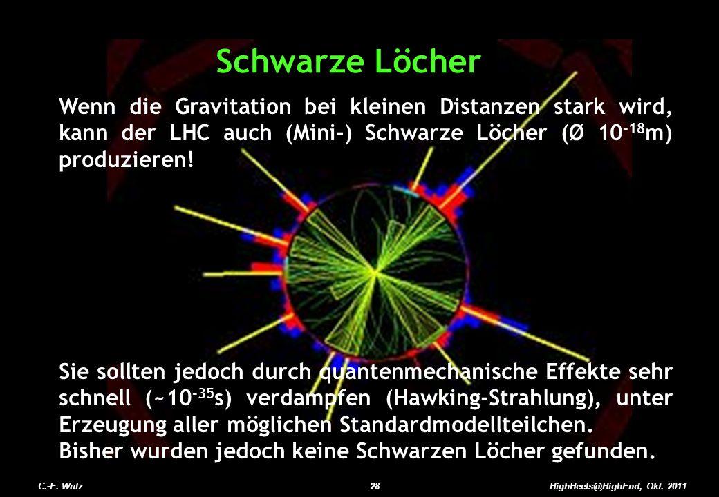 Schwarze Löcher Wenn die Gravitation bei kleinen Distanzen stark wird, kann der LHC auch (Mini-) Schwarze Löcher (Ø 10-18m) produzieren!