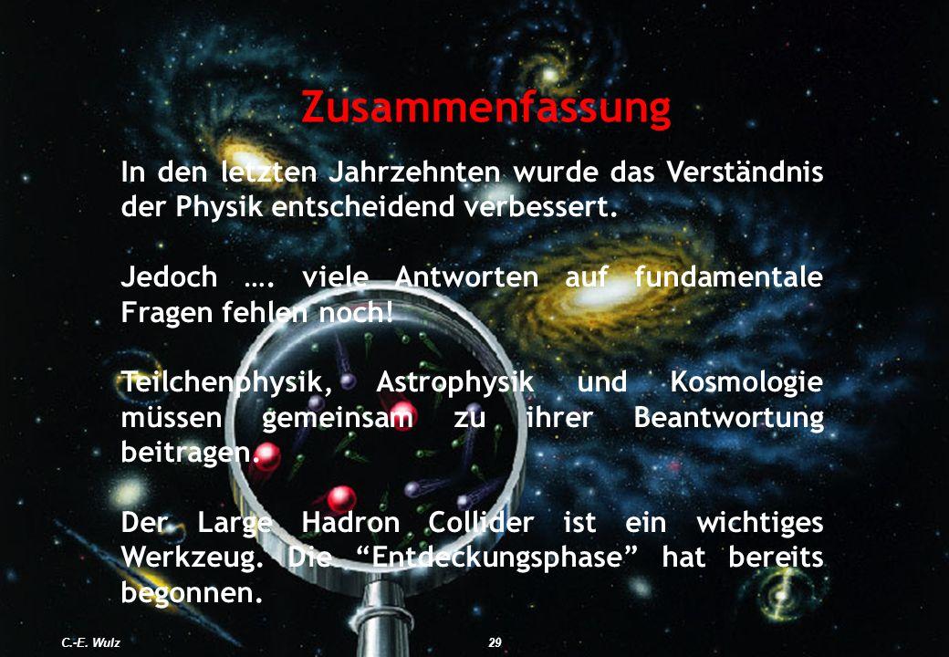 ZusammenfassungIn den letzten Jahrzehnten wurde das Verständnis der Physik entscheidend verbessert.