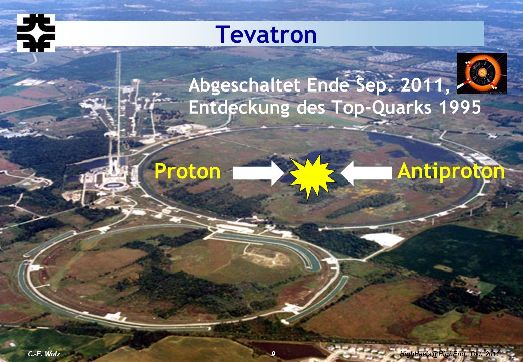 Abgeschaltet Ende Sep. 2011, Entdeckung des Top-Quarks 1995