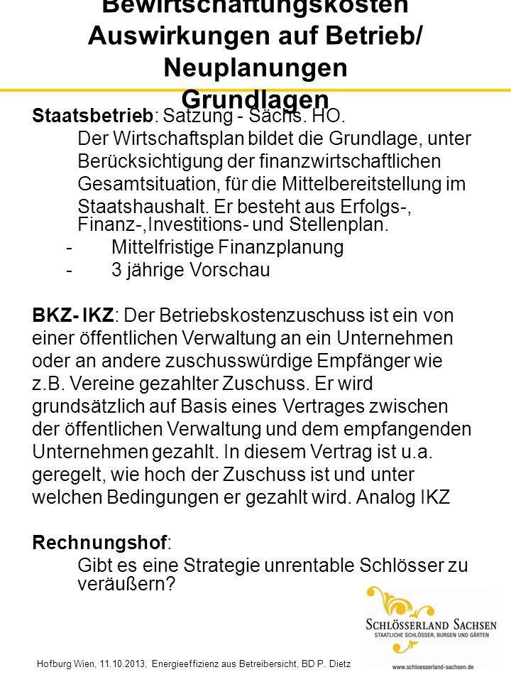 Bewirtschaftungskosten Auswirkungen auf Betrieb/ Neuplanungen Grundlagen