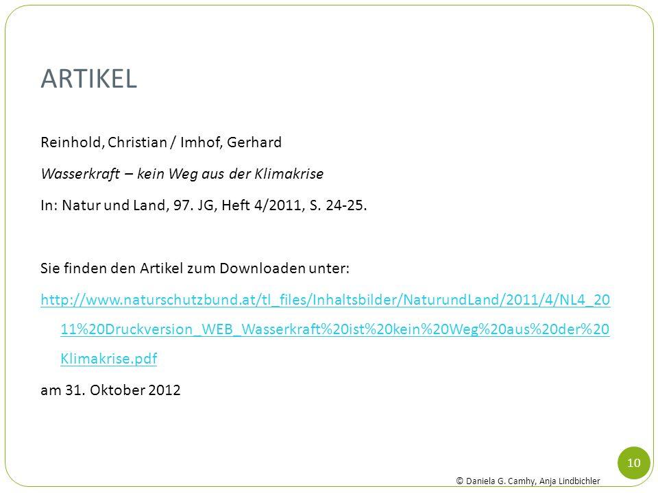 Artikel Reinhold, Christian / Imhof, Gerhard