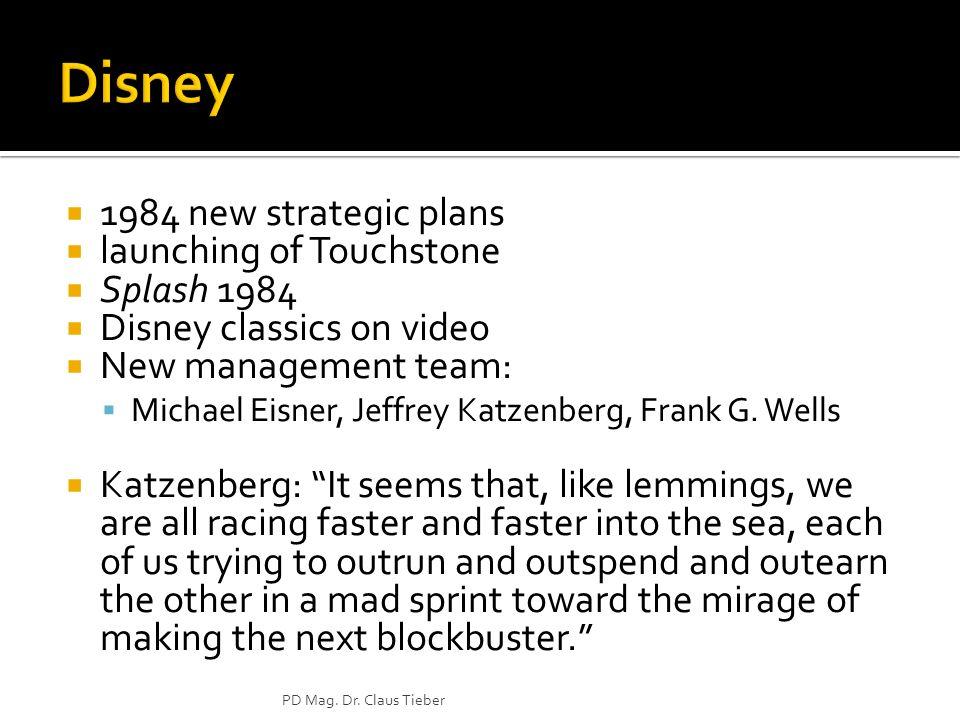 Disney 1984 new strategic plans launching of Touchstone Splash 1984