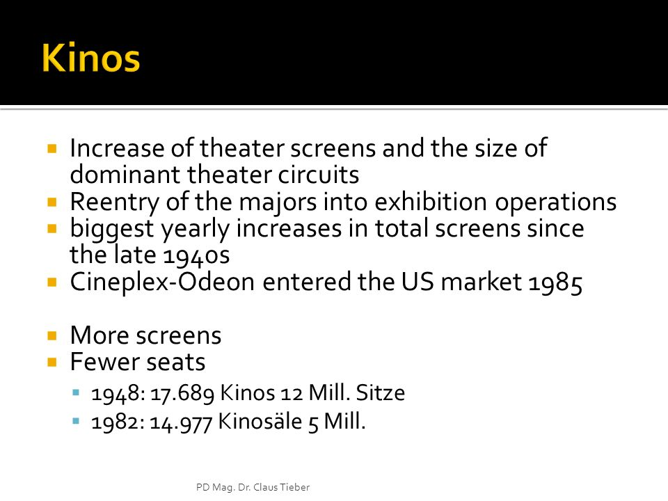 Kinos Increase of theater screens and the size of dominant theater circuits. Reentry of the majors into exhibition operations.