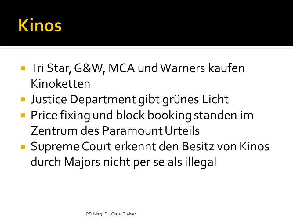 Kinos Tri Star, G&W, MCA und Warners kaufen Kinoketten