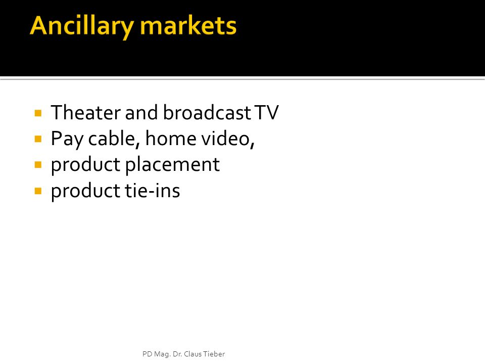Ancillary markets Theater and broadcast TV Pay cable, home video,