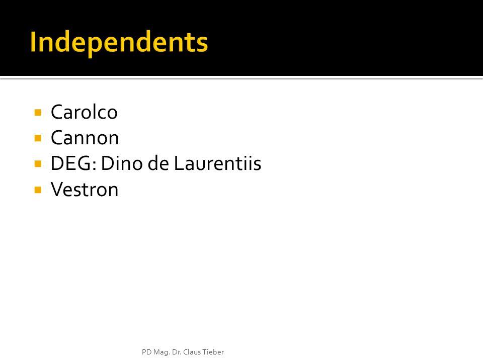Independents Carolco Cannon DEG: Dino de Laurentiis Vestron