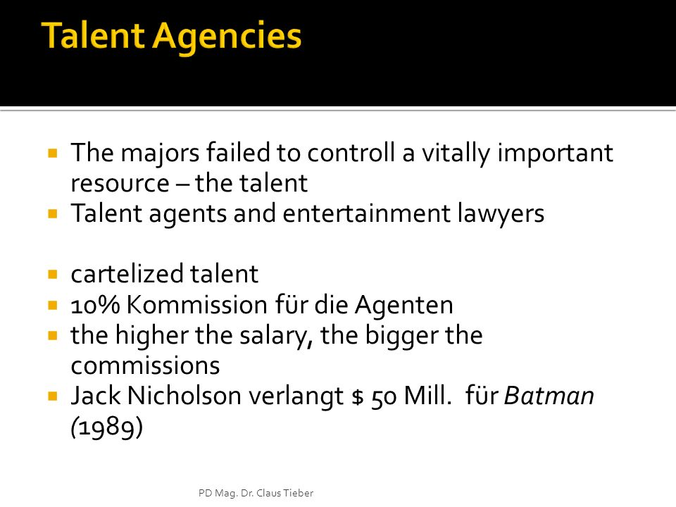 Talent Agencies The majors failed to controll a vitally important resource – the talent. Talent agents and entertainment lawyers.
