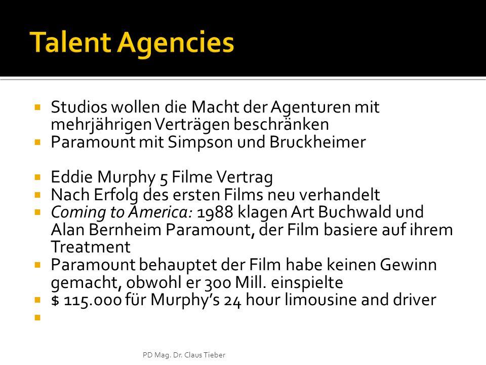 Talent Agencies Studios wollen die Macht der Agenturen mit mehrjährigen Verträgen beschränken. Paramount mit Simpson und Bruckheimer.