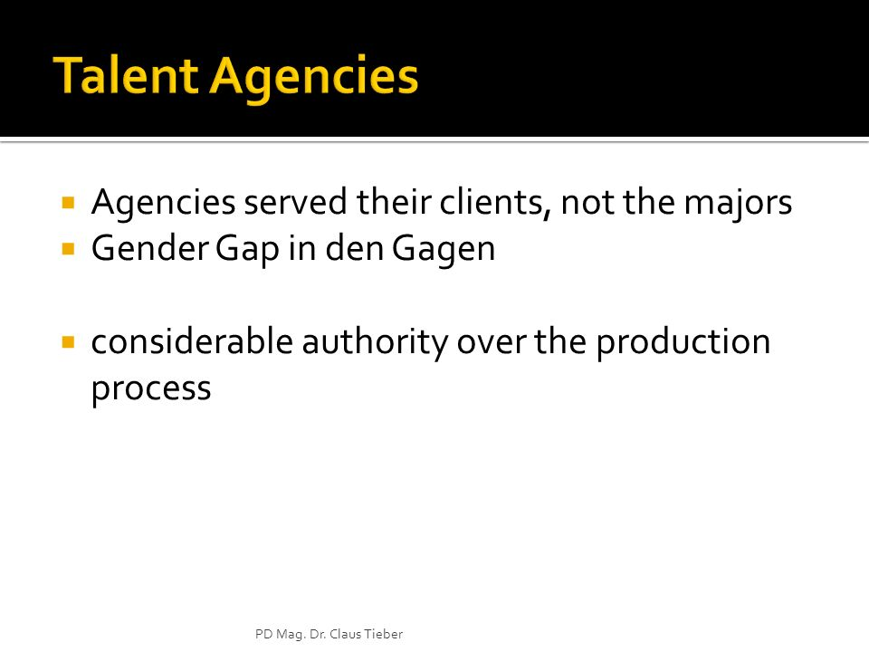 Talent Agencies Agencies served their clients, not the majors