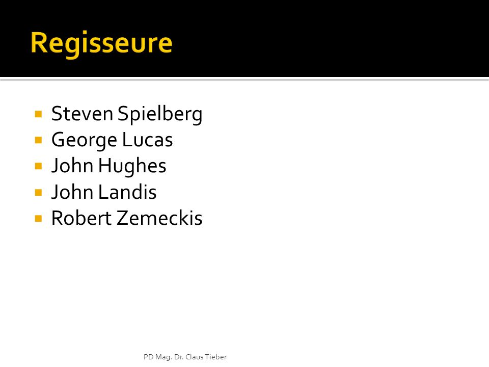 Regisseure Steven Spielberg George Lucas John Hughes John Landis