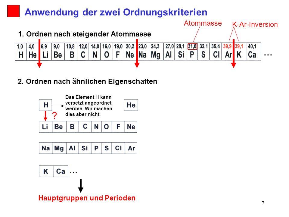... Anwendung der zwei Ordnungskriterien ... Atommasse