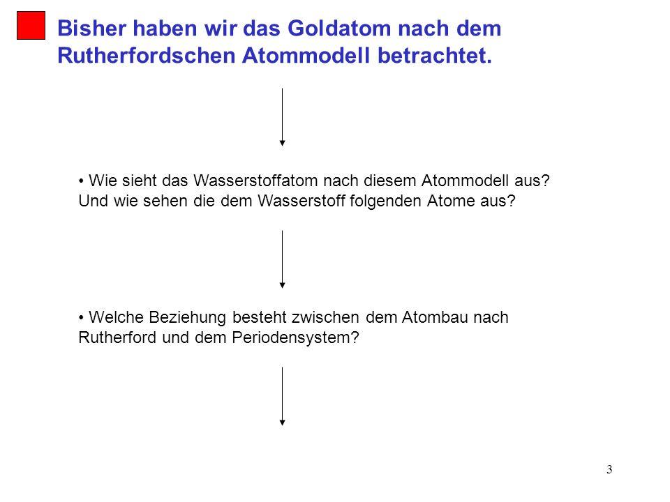 Bisher haben wir das Goldatom nach dem Rutherfordschen Atommodell betrachtet.