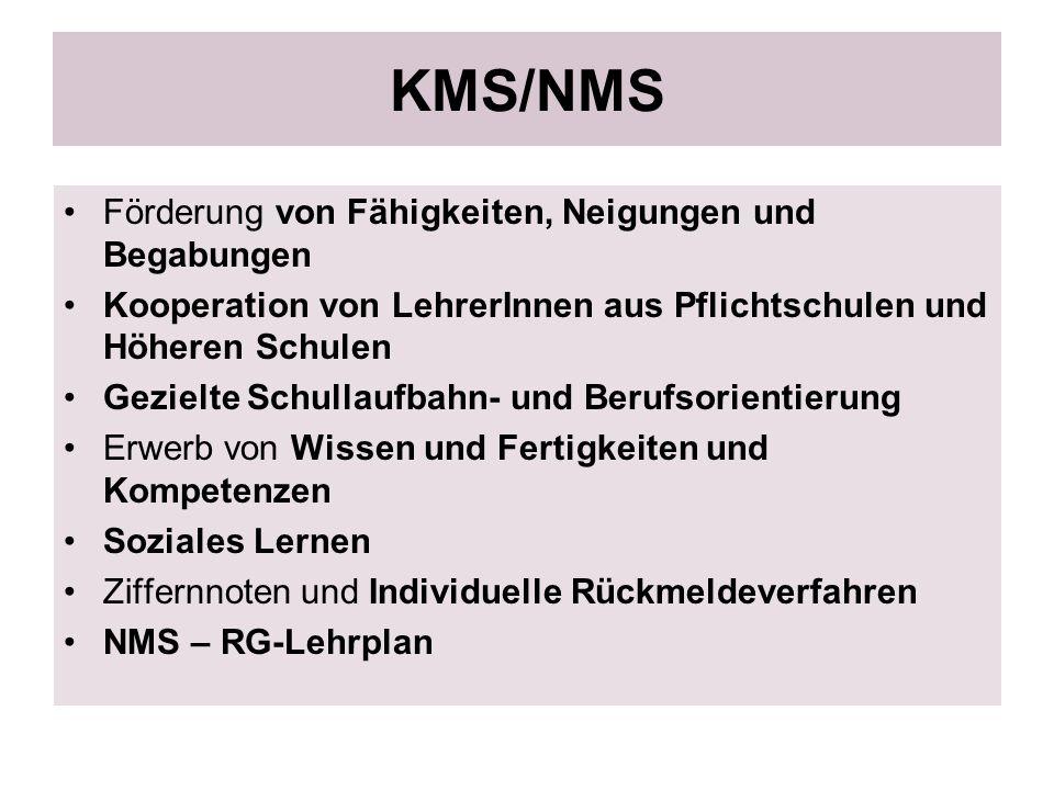 KMS/NMS Förderung von Fähigkeiten, Neigungen und Begabungen